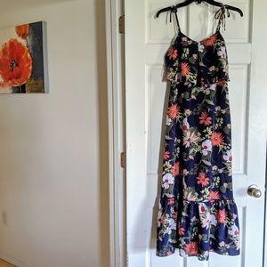 J Crew NWOT Navy Floral Maxi Dress